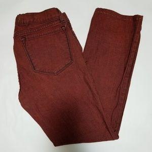 J Brand Brick Colored Slim Leg Ankle Jeans